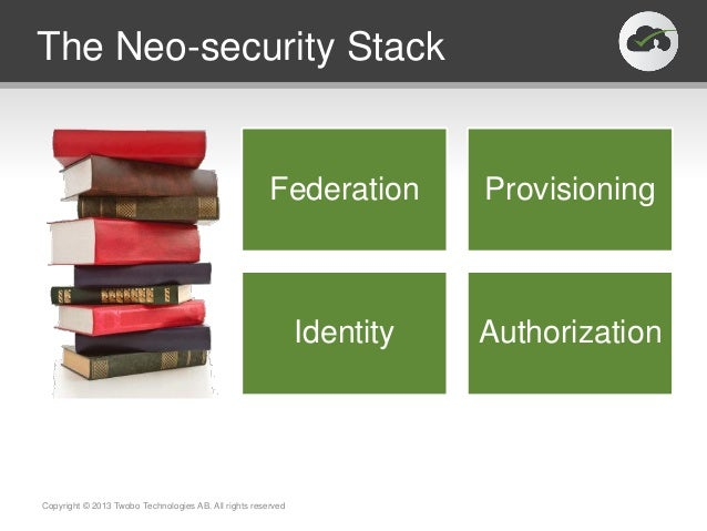 SAML /OpenIDConnectSCIMJSONIdentitySuiteOAuthThe Neo-security StackCopyright © 2013 Twobo Technologies AB. All rights rese...