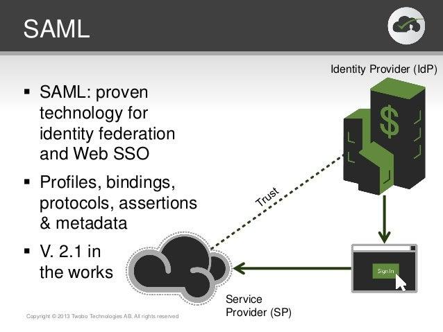 SAML SAML: proventechnology foridentity federationand Web SSO Profiles, bindings,protocols, assertions& metadata V. 2.1...