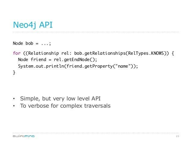 23 Neo4j API Node bob = ...;  for ((Relationship rel: bob.getRelationships(RelTypes.KNOWS)) { Node friend = rel.getEndN...