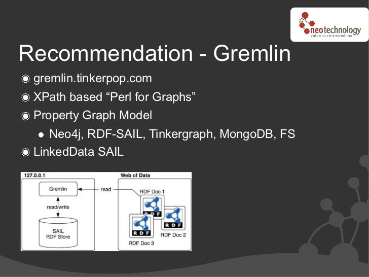 """Recommendation - Gremlin  gremlin.tinkerpop.com  XPath based """"Perl for Graphs""""  Property Graph Model     Neo4j, RDF-SAIL, ..."""