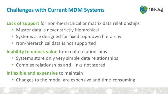 Challenges with Current MDM Systems Lack of support for non-hierarchical or matrix data relationships • Master data is nev...