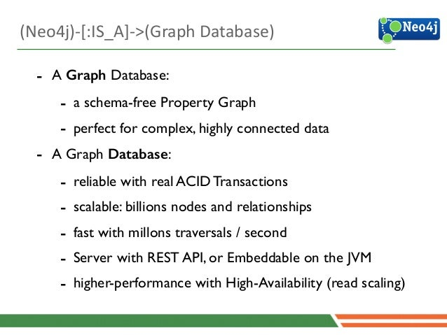 4 - A Graph Database:  - a schema-free Property Graph  - perfect for complex, highly connected data  - A Graph Database...