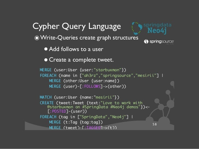 59 Cypher Query Language ๏Read-Queries answer use-case questions  •Whom should I follow?  •Which tags where often used w...
