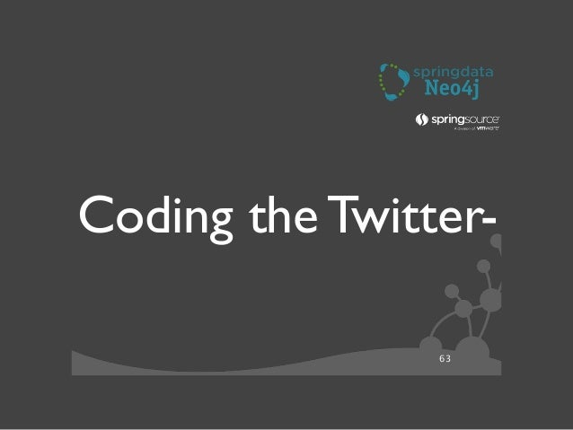 64 Todays Coding Exercise ๏uses Spring Social (minimally)  ๏Simple Domain:Tweets, Users,Tags  •connected Entities  •Rep...