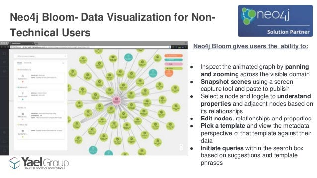 Neo4j Bloom- Data Visualization for Non- Technical Users Neo4j Bloom gives users the ability to: ● Inspect the animated gr...