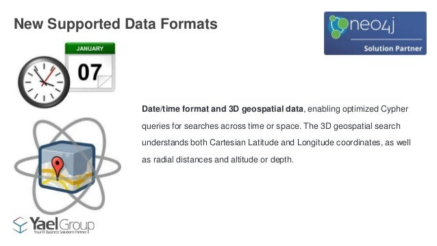 Date/time format and 3D geospatial data, enabling optimized Cypher queries for searches across time or space. The 3D geosp...