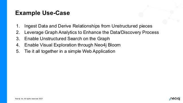 Neo4j, Inc. All rights reserved 2021 1. Ingest Data and Derive Relationships from Unstructured pieces 2. Leverage Graph An...