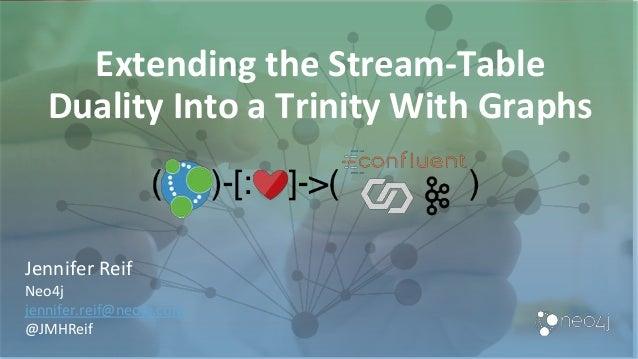 Extending the Stream-Table Duality Into a Trinity With Graphs Jennifer Reif Neo4j jennifer.reif@neo4j.com @JMHReif