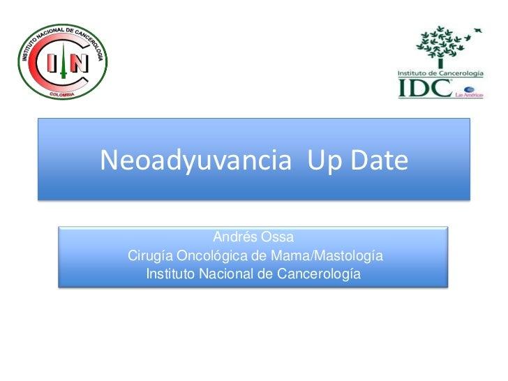 Neoadyuvancia Up Date               Andrés Ossa Cirugía Oncológica de Mama/Mastología    Instituto Nacional de Cancerología