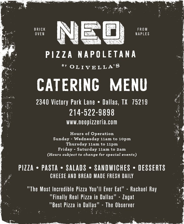 Neo Pizza Catering Menu