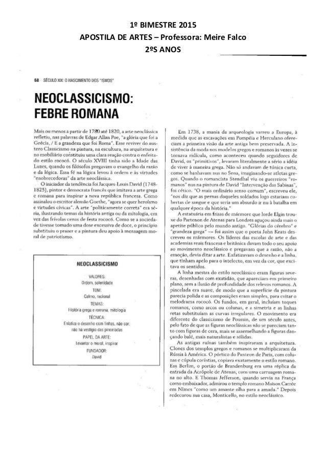 1º BIMESTRE 2015 APOSTILA DE ARTES – Professora: Meire Falco 2ºS ANOS