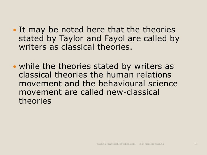 theories of management under the classical 45 classical management theory schools of management thought 43 theory in neoclassical management theory iii) modern management theory under each group.
