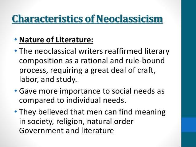 Neoclassical period literature characteristics