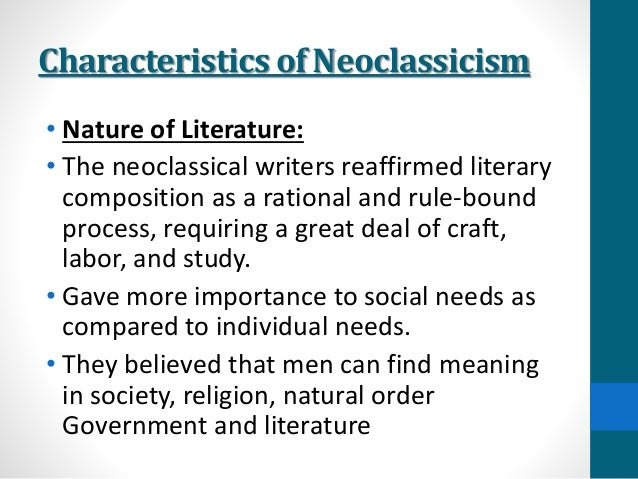 characteristics of neoclassical literature
