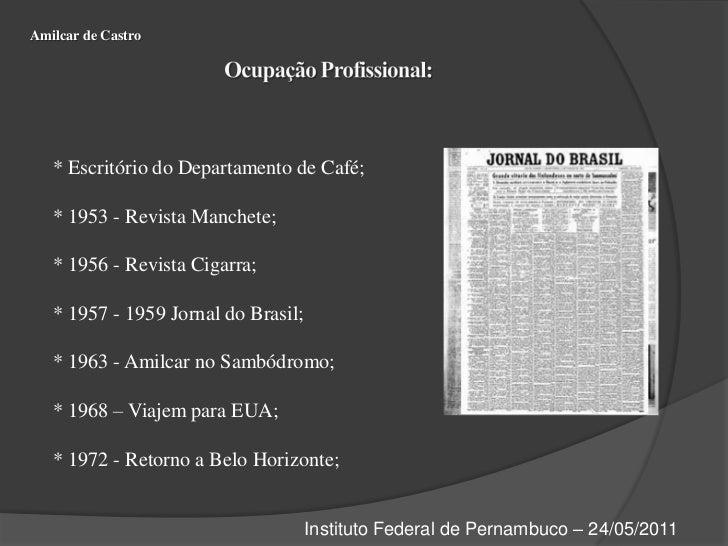 Amilcar de Castro<br />Ocupação Profissional:<br />* Escritório do Departamento de Café;<br />* 1953 - Revista Manchete;<b...