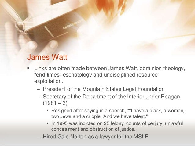 Neoconservatism nature and the american christian right for James watt secretary of the interior