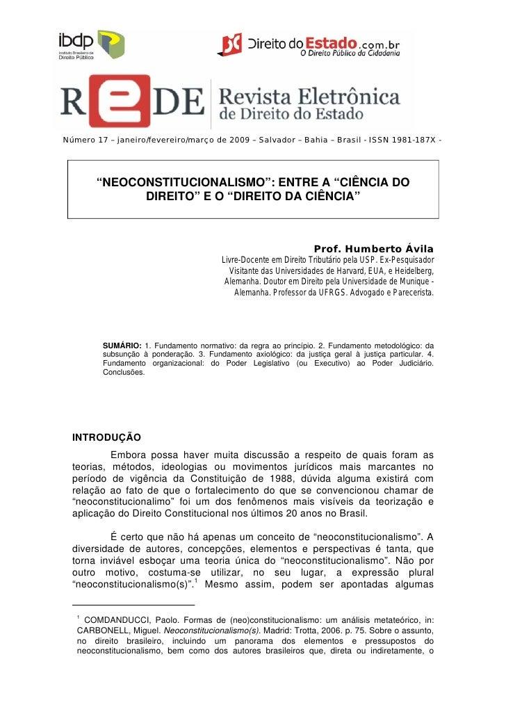 Neoconstitucionalismo_artigo prof. Ávila