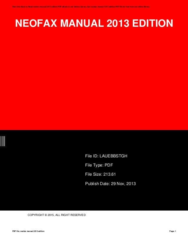 neofax manual 2013 edition