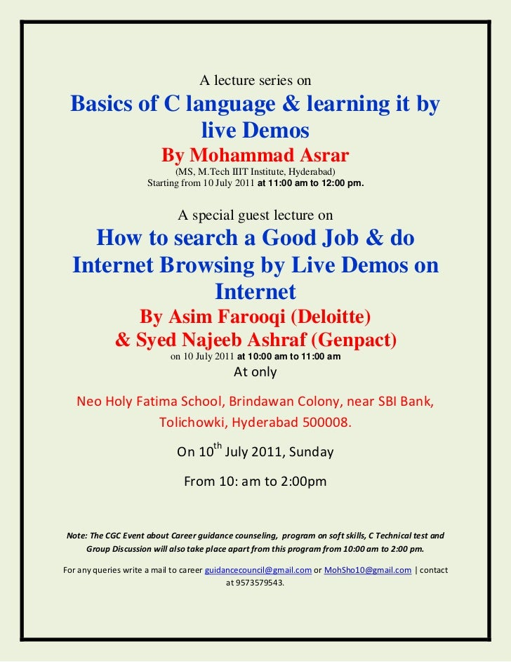 A lecture series on<br />Basics of C language & learning it by live Demos<br />By Mohammad Asrar<br />(MS, M.Tech IIIT Ins...