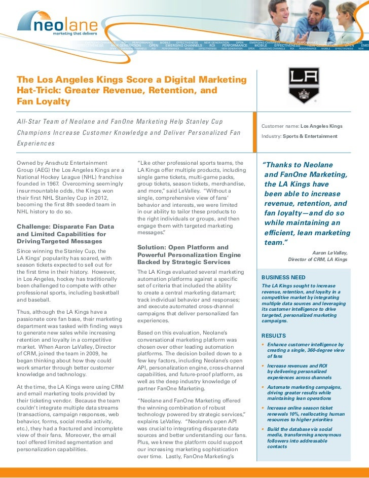 The Los Angeles Kings Score a Digital MarketingHat-Trick: Greater Revenue, Retention, andFan LoyaltyAll-Star Team of Neola...