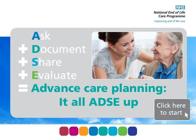 Ask Document Share Evaluate Advance care planning: It all ADSE up Click here to start