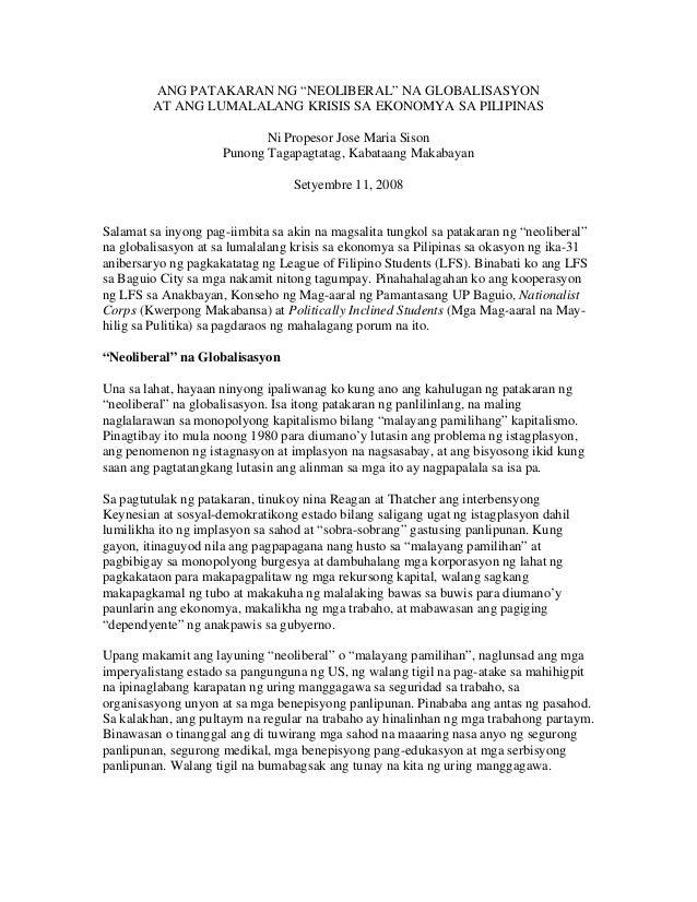 """ANG PATAKARAN NG """"NEOLIBERAL"""" NA GLOBALISASYON AT ANG LUMALALANG KRISIS SA EKONOMYA SA PILIPINAS Ni Propesor Jose Maria Si..."""