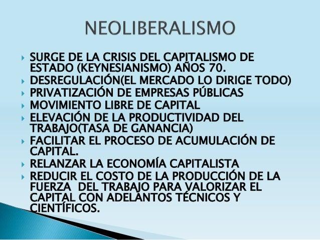  SURGE DE LA CRISIS DEL CAPITALISMO DE ESTADO (KEYNESIANISMO) AÑOS 70.  DESREGULACIÓN(EL MERCADO LO DIRIGE TODO)  PRIVA...