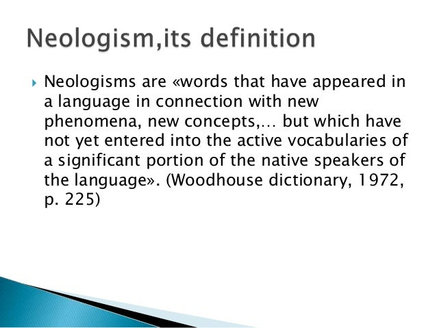 Neologisms in the english language