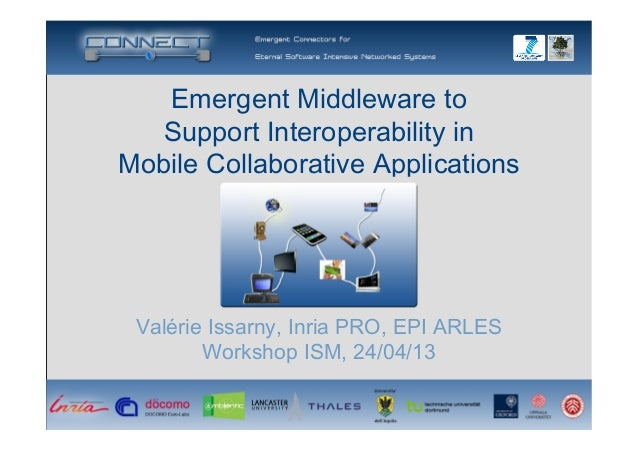 Emergent Middleware to Support Interoperability inMobile Collaborative ApplicationsValérie Issarny, Inria PRO, EPI ARLES...