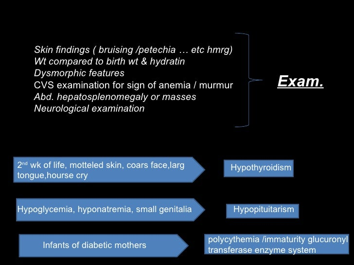 Skin findings ( bruising /petechia … etc hmrg) Wt compared to birth wt & hydratin Dysmorphic features CVS examination for ...