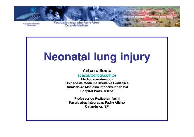 Neonatal lung injury Antonio Souto acasouto@bol.com.br Médico coordenador Unidade de Medicina Intensiva Pediátrica Unidade...