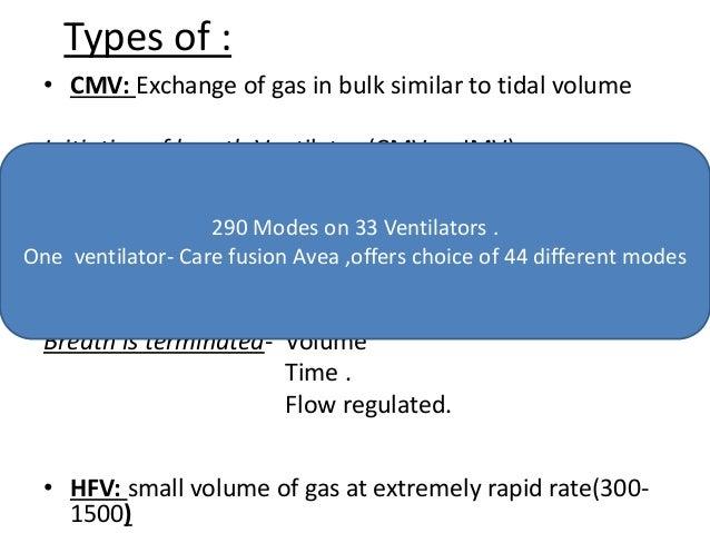 Types of : • CMV: Exchange of gas in bulk similar to tidal volume Initiation of breath-Ventilator (CMV or IMV) Patient Tid...