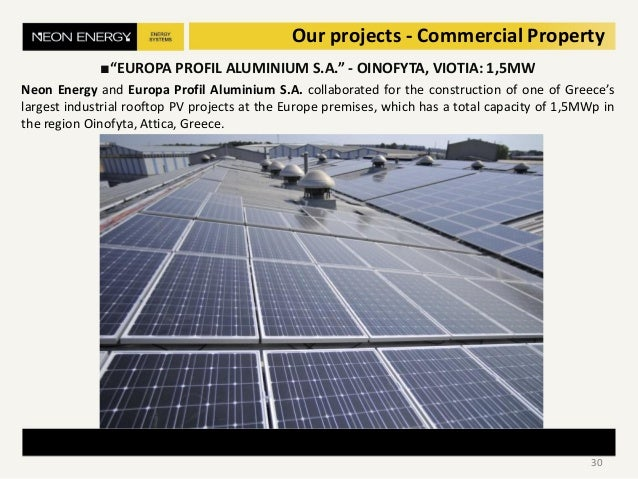 """Our projects - Commercial Property ■""""EUROPA PROFIL ALUMINIUM S.A."""" - OINOFYTA, VIOTIA: 1,5MW Neon Energy and Europa Profil..."""