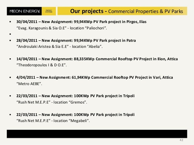 "• 30/04/2011 – New Assignment: 99,94KWp PV Park project in Pirgos, Ilias ""Evag. Karagounis & Sia O.E"" - location ""Paliocho..."