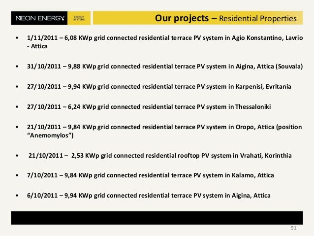 • 1/11/2011 – 6,08 KWp grid connected residential terrace PV system in Agio Konstantino, Lavrio - Attica • 31/10/2011 – 9,...