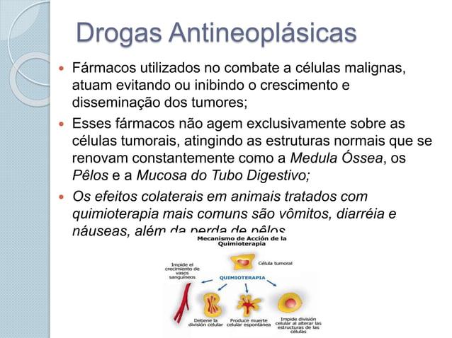 Drogas Antineoplásicas  Fármacos utilizados no combate a células malignas, atuam evitando ou inibindo o crescimento e dis...