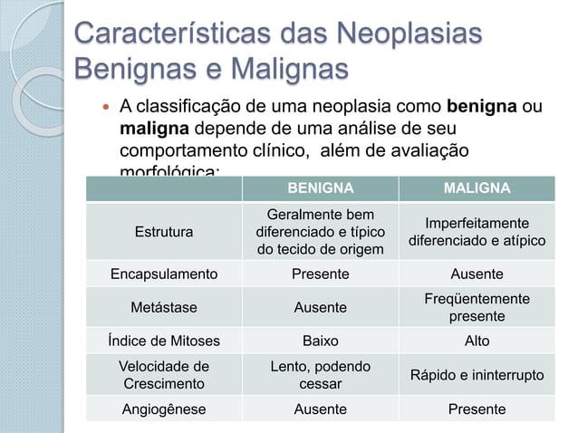 Características das Neoplasias Benignas e Malignas  A classificação de uma neoplasia como benigna ou maligna depende de u...