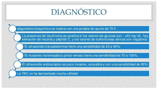 DIAGNÓSTICO diagnóstico bioquímico se realiza con una prueba de ayuno de 72 h La presencia de insulinoma es positiva si lo...