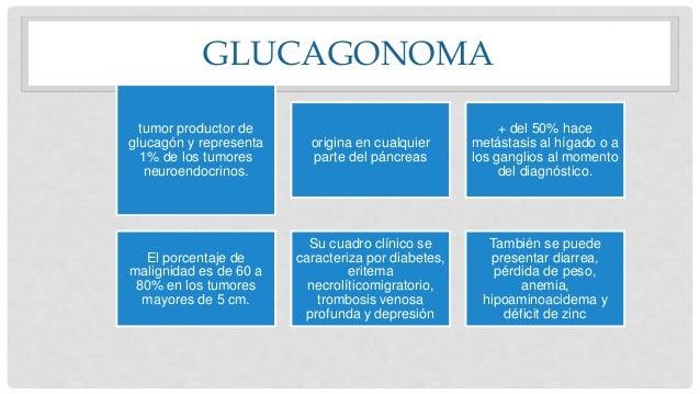 GLUCAGONOMA tumor productor de glucagón y representa 1% de los tumores neuroendocrinos. origina en cualquier parte del pán...