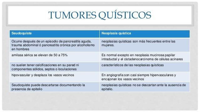 TUMORES QUÍSTICOS Seudoquiste Neoplasia quística Ocurre después de un episodio de pancreatitis aguda, trauma abdominal ó p...