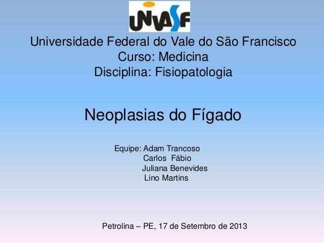 Universidade Federal do Vale do São Francisco Curso: Medicina Disciplina: Fisiopatologia Neoplasias do Fígado Equipe: Adam...
