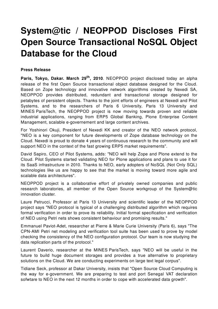 System@tic  /  NEOPPOD  Discloses  First OpenSourceTransactionalNoSQLObject DatabasefortheCloud PressReleas...