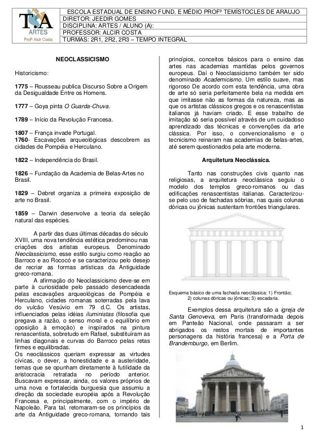 1 SMO NEOCLASSICISMO Historicismo: 1775 – Rousseau publica Discurso Sobre a Origem da Desigualdade Entre os Homens. 1777 –...