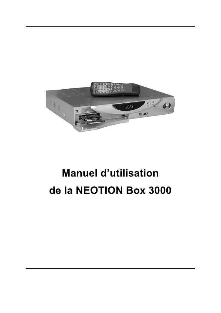 Manuel d'utilisation de la NEOTION Box 3000