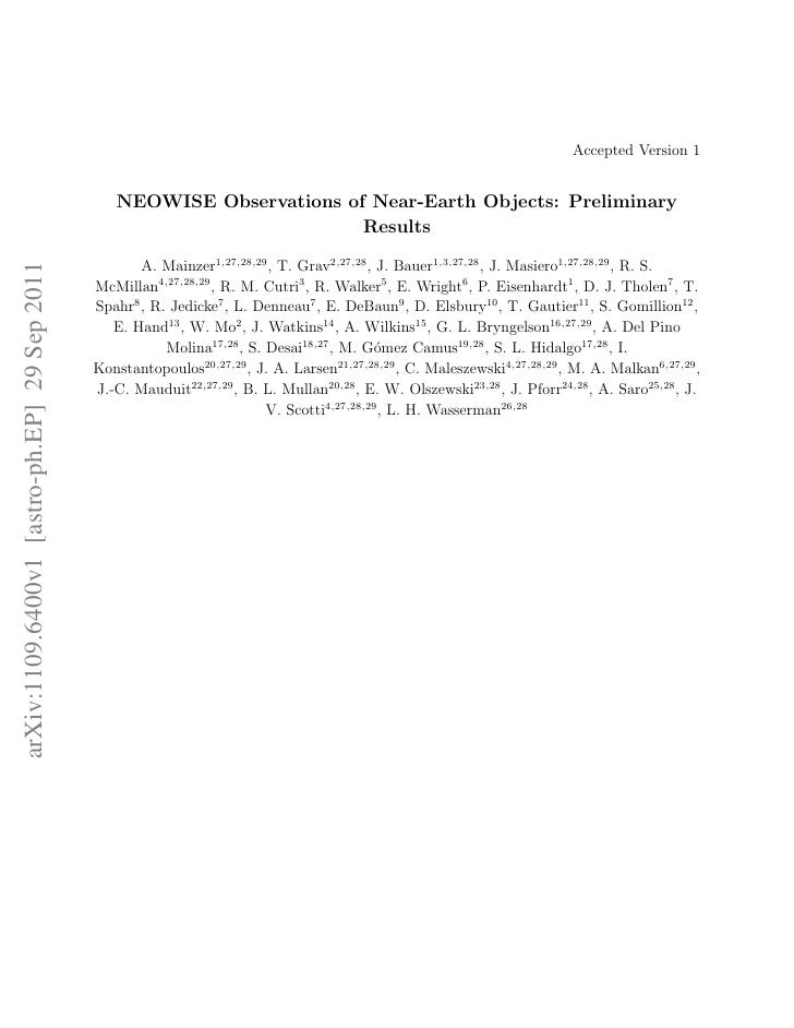 Accepted Version 1                                                 NEOWISE Observations of Near-Earth Objects: Preliminary...