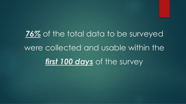 76% of the total data to be surveyed were collected and usable within the first 100 days of the survey