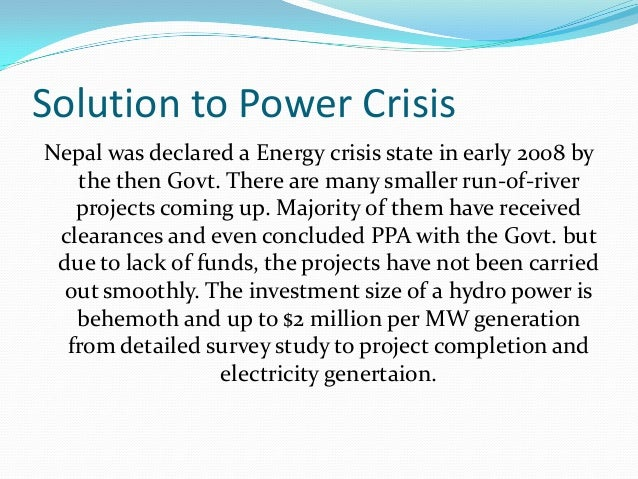 An essay on energy crisis