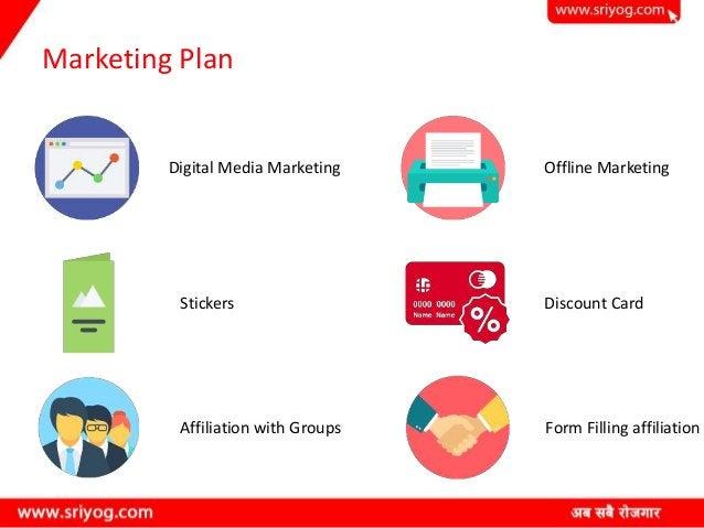 Marketing Plan Digital Media Marketing Stickers Affiliation with Groups Offline Marketing Discount Card Form Filling affil...