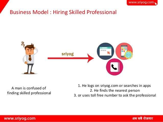 Business Model : Hiring Skilled Professional A man is confused of finding skilled professional 1. He logs on sriyog.com or...