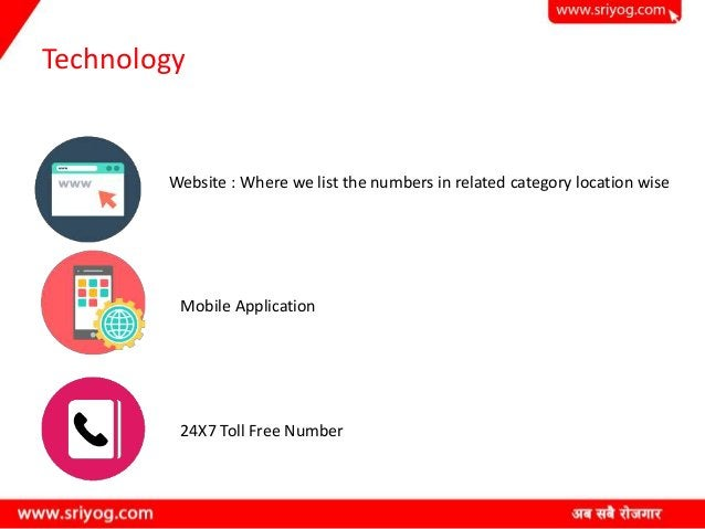 Technology Website : Where we list the numbers in related category location wise Mobile Application 24X7 Toll Free Number